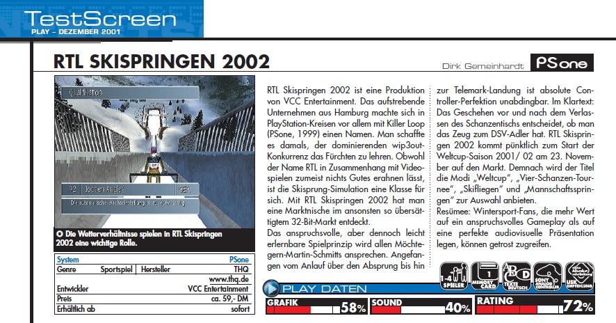 RTL Skispringen 2002 Test