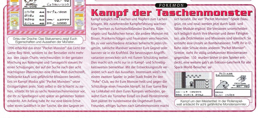 Pokemon Gameboy 1999 altes Magazin Videospiele