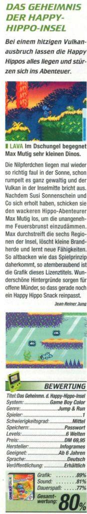 Das Geheimnis der Happy Hippo Insel Game Boy Color Bewertung