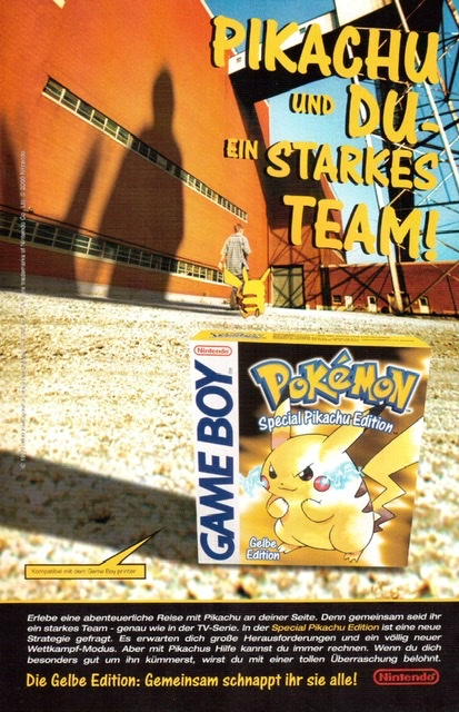 Pokémon Werbung Game Boy gelbe Edition Pikachu