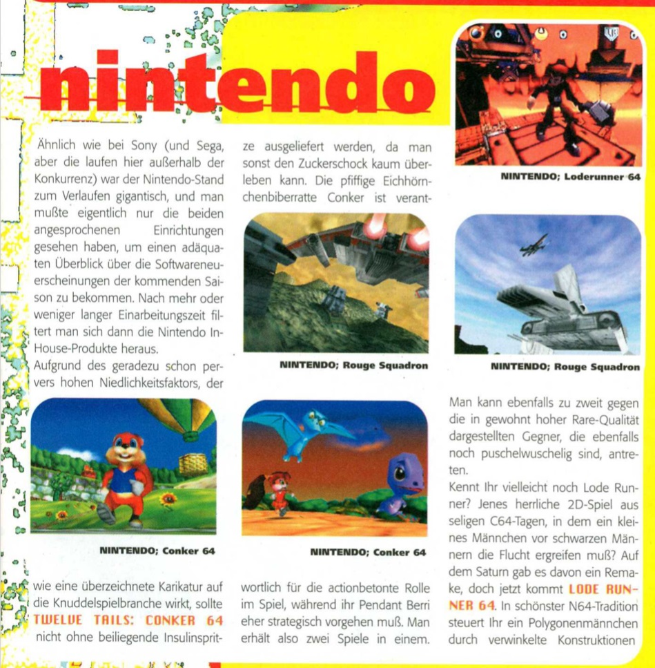 Twelve Tales Conker 64 Bericht zur E3 1998 in der Fun Generation