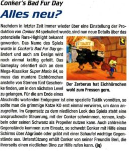 Conker's Bad Fur Day nach dem Redesign in der N-Zone altes Videospielmagazin